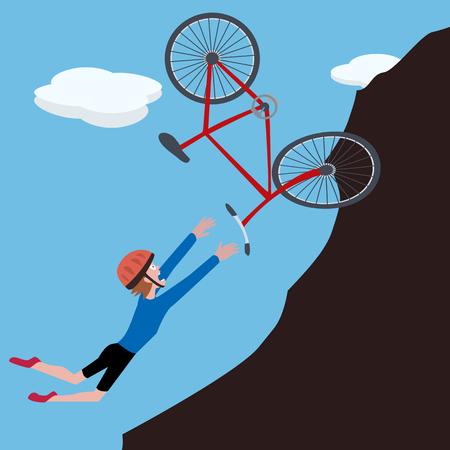 collapsed: cartoon biker falls on slope - funny vector illustration
