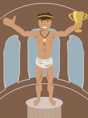 olive wreath: ancient athlete with olive wreath - funny cartoon of international sport event symbol Illustration