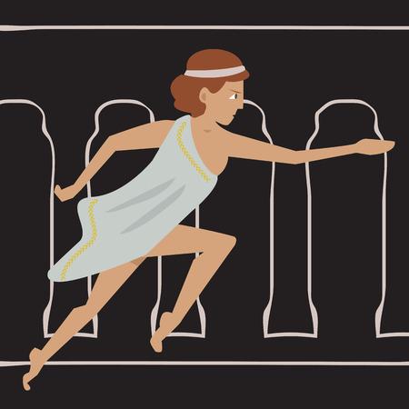 origins: ancient female athlete running - cartoon vector illustration of women sport origins