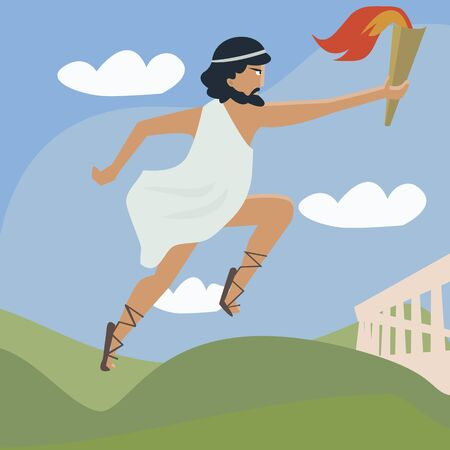 flaming torch: ancient runner with flaming torch - funny cartoon of international sport event symbol Illustration