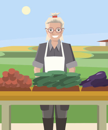 smiling woman farmer selling vegetables - colorful vector cartoon illustration Illustration