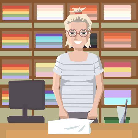 towel saleswoman behind the counter - colorful cartoon vector illustration Illustration