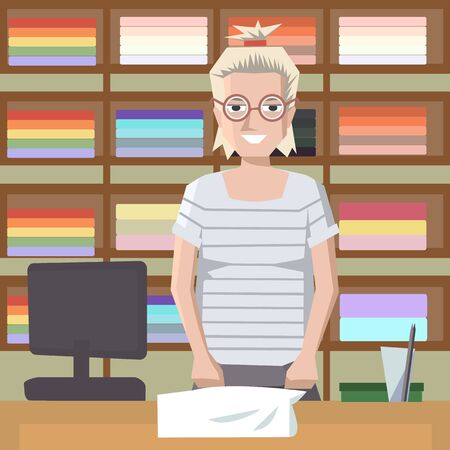 saleswoman: towel saleswoman behind the counter - colorful cartoon vector illustration Illustration