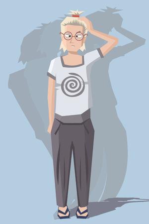 dizziness: woman with dizziness - funny cartoon vector illustration
