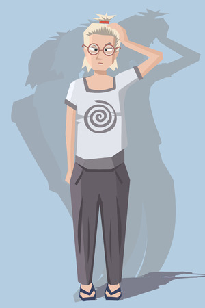woman with dizziness - funny cartoon vector illustration