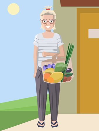 woman with food shopping bag - colorful vector cartoon illustration Illustration