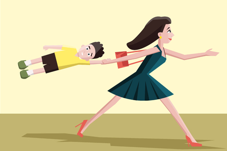 hurrying: mother hurrying with the child - funny colorful cartoon illustration Illustration