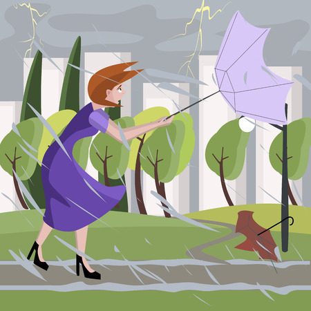 gale: woman walking at summer storm - colorful cartoon illustration