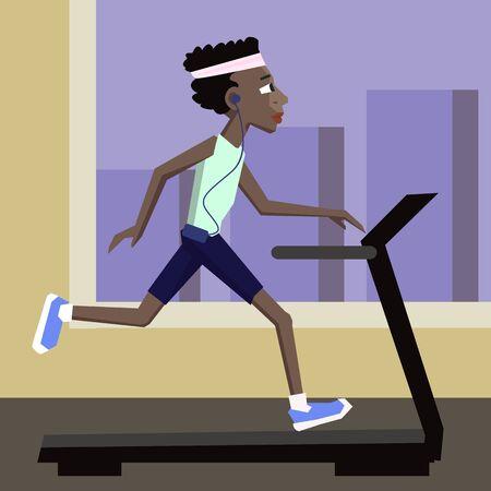 black man jogging at gym - cute colorful cartoon illustration Illustration