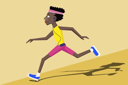 black man running - colorful cartoon vector illustration Illustration
