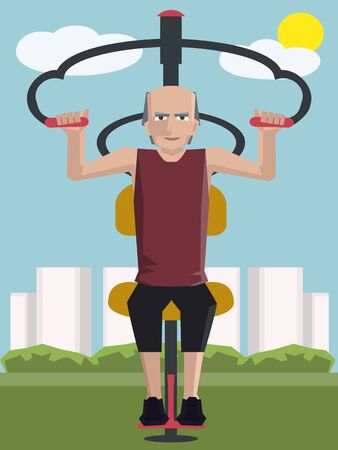 man working out: old man working out at outdoor gym - colorful cartoon vector illustration