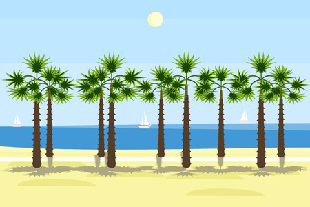 south sea shore with palms background - colorful illustration Illustration