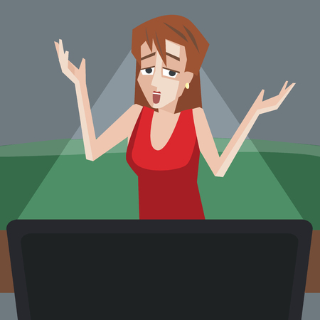 puzzlement: woman watching tv with bad emotions - funny cartoon illustration