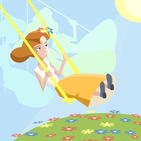 illustration of happiness, woman on swing at summer sunlight - cartoon illustration
