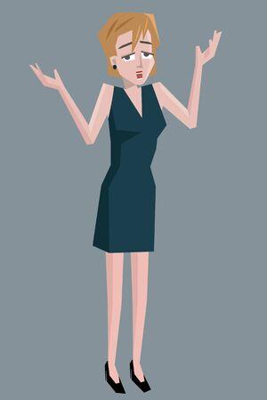 shocked woman - funny cartoon colorful illustration