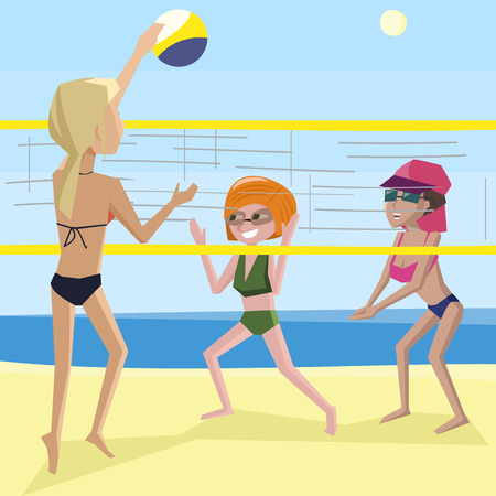 women playing beach volleyball - funny cartoon colorful illustration