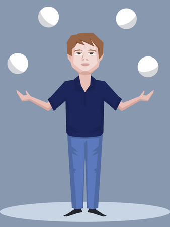 concentration: man juggling with balls - cartoon illustration of skill and concentration Illustration