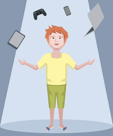 juggling: teenager juggling with gadgets - funny cartoon illustration