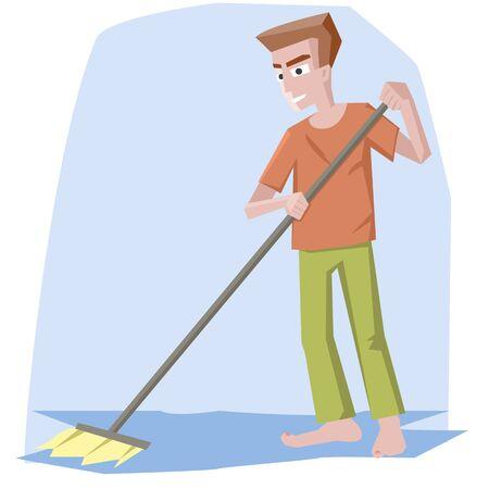 man with mop - funny cartoon illustration