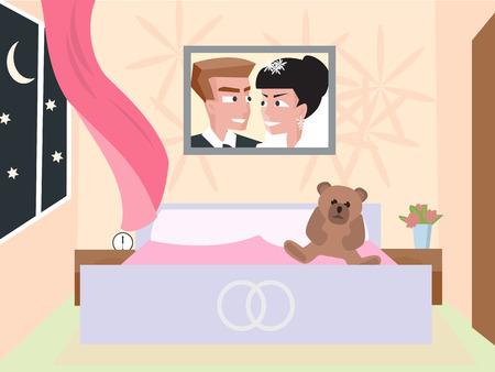 couple bedroom of newlyweds - funny cartoon illustration