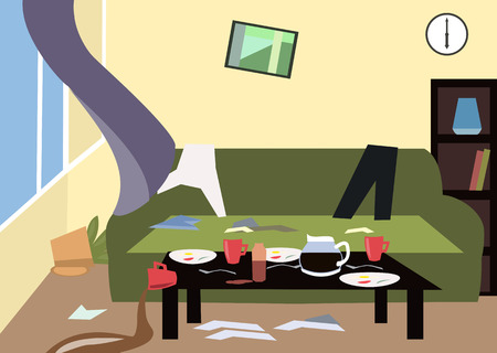 disorganized: mess in the room - colorful cartoon illustration cartoon