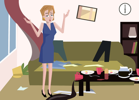 woman at messy room - funny cartoon illustration