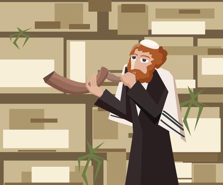 kotel: jew blowing the shofar at kotel - cartoon illustration