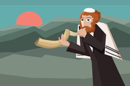 jew blowing the shofar - cartoon illustration for jewish holiday Illustration