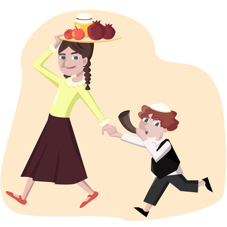 shofar: jewish new year greetings, boy with shofar and girl with symbols - cartoon illstration