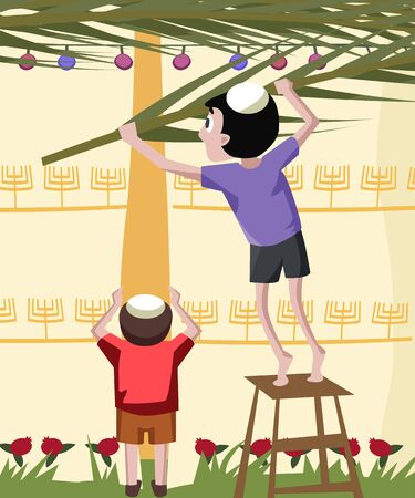 tabernacles: jewish boy building tabernacle - colorful cartoon illustration Illustration