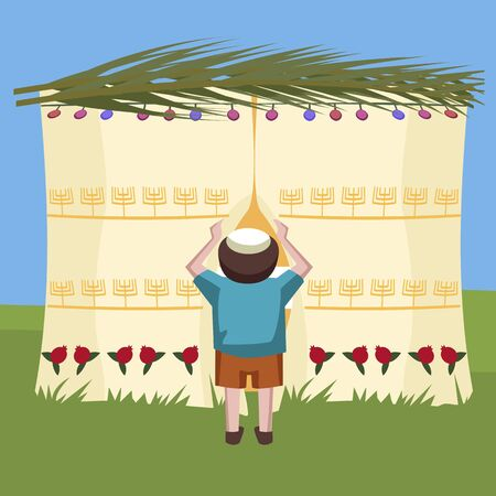 tabernacles: jewish boy peeking in tabernacle - colorful cartoon illustration