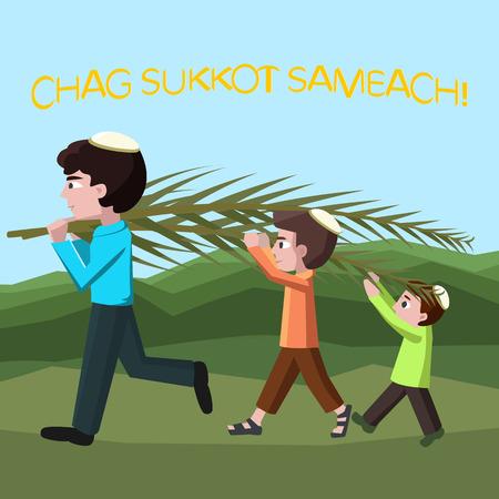 Jewish boys building tabernacles, happy sukkot - cartoon illustration Ilustrace