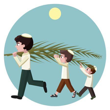 Jewish boys building tabernacles, sukkot greeting card - carton illustration Illustration