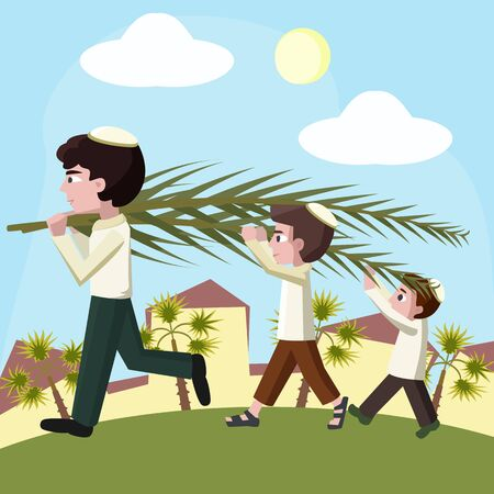 tabernacles: Jewish boys building tabernacles, sukkot holiday cartoon illustration