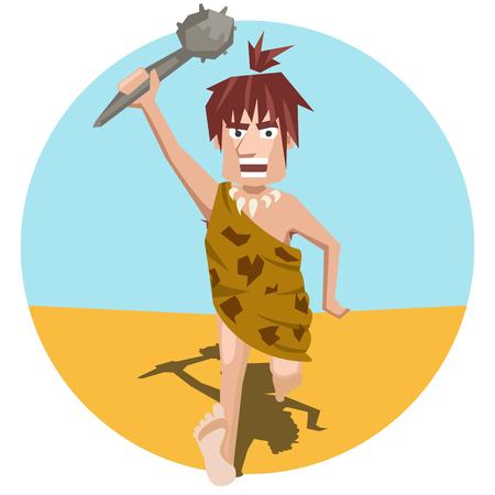 ancient man pursues prey - funny cartoon vector illustration Illustration