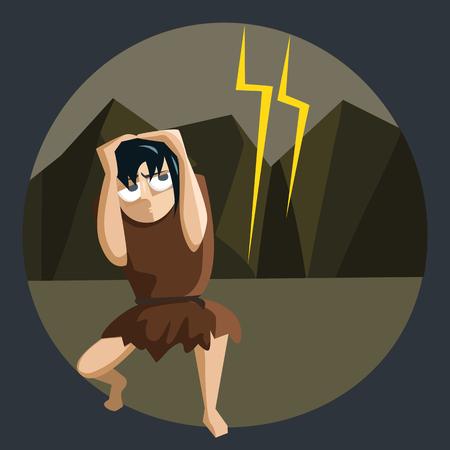 nature horrors, ancient man afraid of lightning - funny cartoon vector illustration