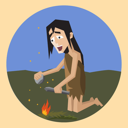 invention of fire, funny colorful cartoon vector illustration Illustration