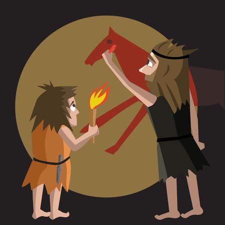 primitive art origins cartoon illustration - funny vector cartoon illustration