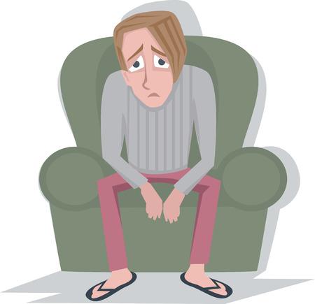 man in depressie - vector cartoon afbeelding op wit wordt geïsoleerd