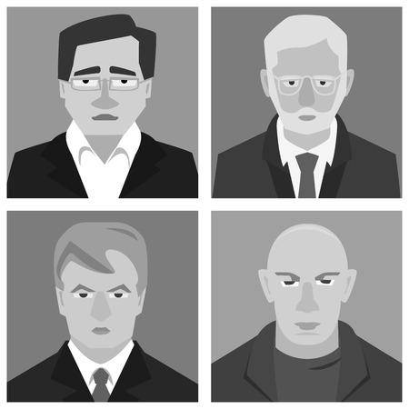 serious men avatars - simple vector cartoon illustration in black and white Illustration