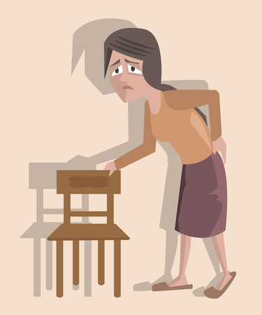 woman suffering from backpaine - vector cartoon funny illustration Illustration