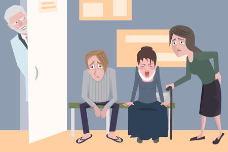 Pazienti in attesa del medico, vettoriale divertente fumetto illustrazione
