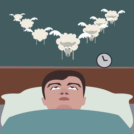 man suffering insomnia, funny cartoon vector illustration