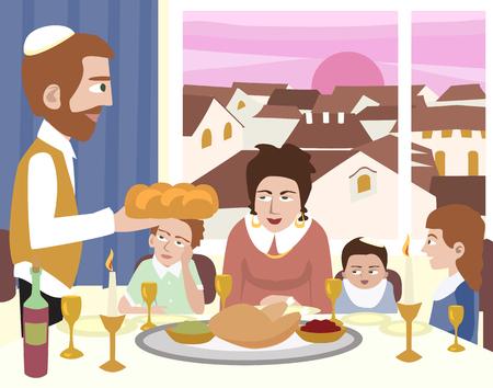 shalom: Kabbalat Shabbat, family night meal - colorful vector cartoon illustration Illustration