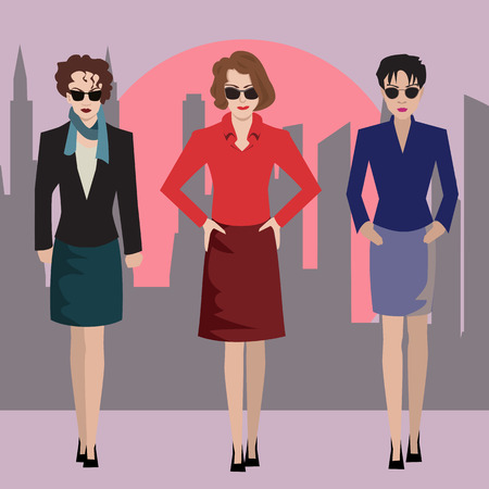 groupe: business women standing on modern city background -  colorful illustration Illustration