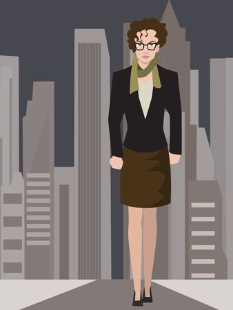 resolute business woman on modern city background -  illustration