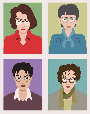 women with glasses avatars - vector cartoon colorful illustration Illustration