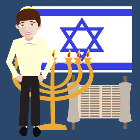 teenager jewish boy with israel symbols, flag, menorah, torah scroll Illustration
