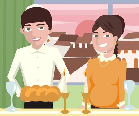 saturday night: young  jewish couple at shabbat dinner - cartoon vector illustration