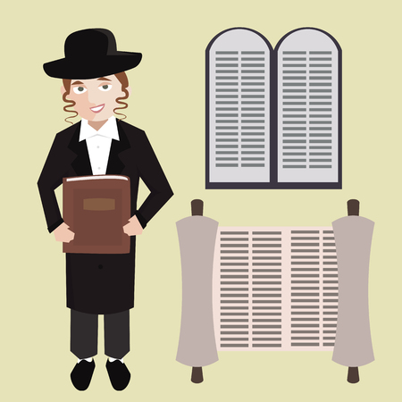orthodox jewish young man with hebrew bible, torah scroll, stone tablets - vector cartoon